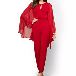 Red Statement Sleeve Jumpsuit
